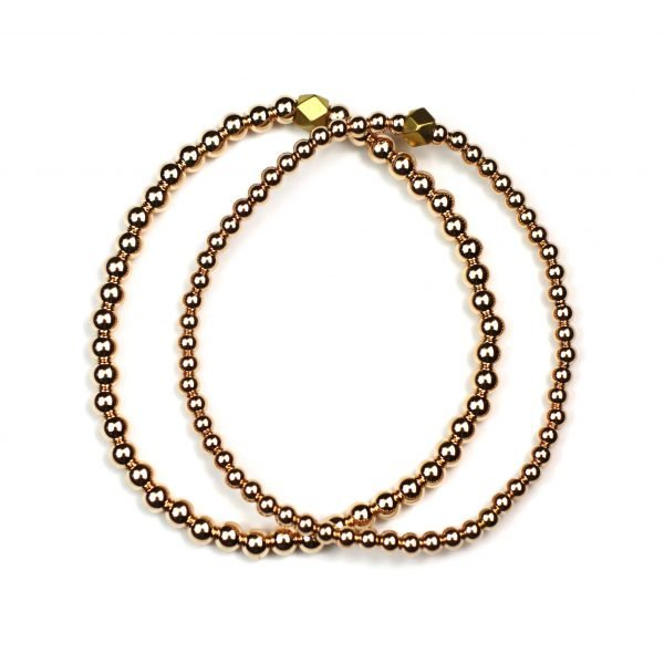 Rose Gold Ball Stretch Ball Bracelet Set-0