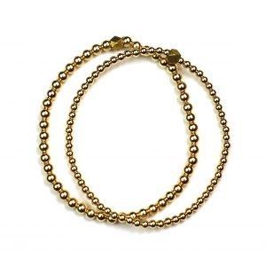 Yellow Gold Ball Stretch Bracelet Set-0