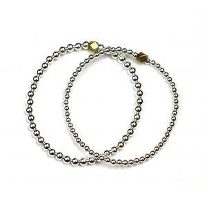 Silver Ball Stretch Ball Bracelet Set-0