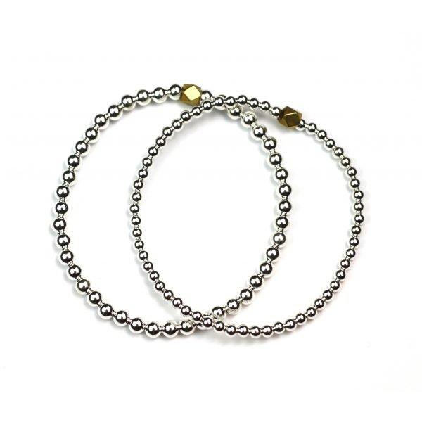 Silver Ball Stretch Ball Bracelet Set-0