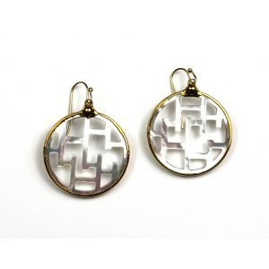 Small Geometric Mother of Pearl Earrings-0