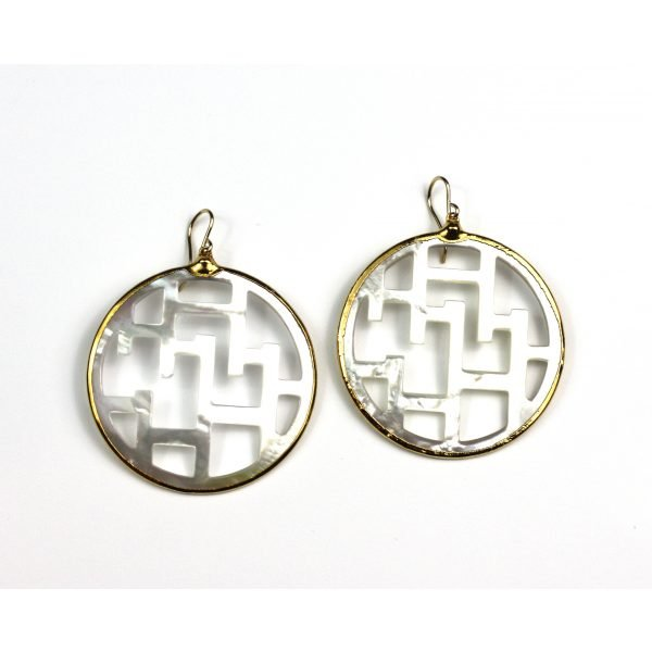 Large Geometric Mother of Pearl Earrings-0
