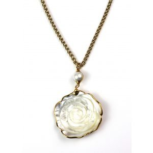 White Rose Pendant Necklace-0