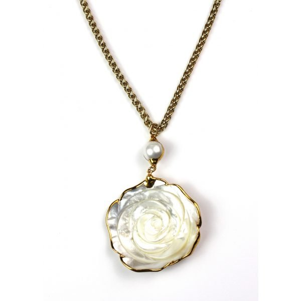 White Rose Pendant Necklace-0