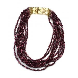 Cranberry Pearl Statement Necklace-0