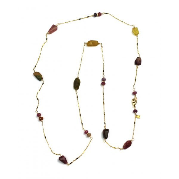 Long Tourmaline Layer Necklace-0