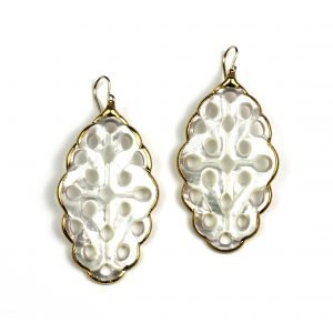 Scalloped Oval Mother of Pearl Earrings-0