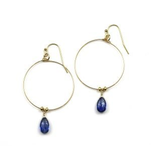 Blue Kyanite Hoop Earrings-0