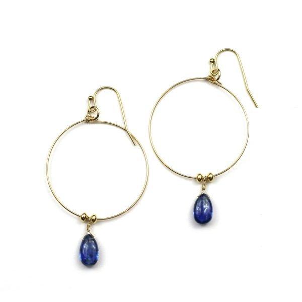 Blue Kyanite Hoop Earrings-0