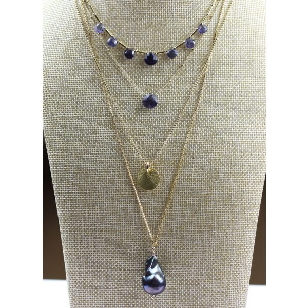 """21"""" Brushed Disc Chain Necklace-4607"""
