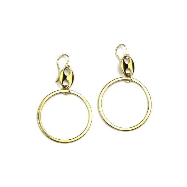 Gold Gromet Hoop Earrings-0