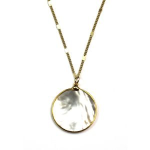 Solid Circle Mother of Pearl Pendant-0