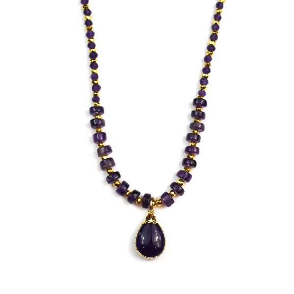 Smooth Amethyst Teardrop Necklace-0
