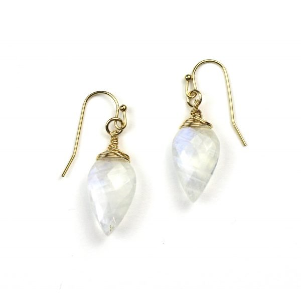 Rainbow Moonstone Minarette Earrings-0