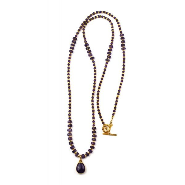 Smooth Amethyst Teardrop Necklace-4634