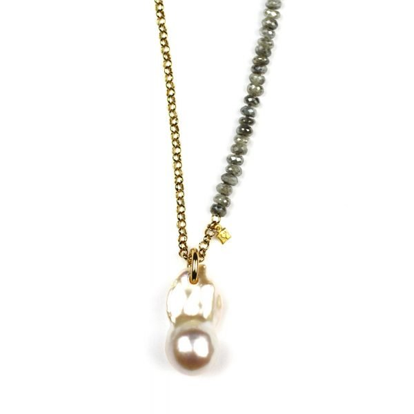 Baroque Pearl & Silverite Necklace-0