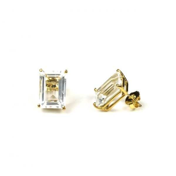 Clear Topaz Serena Stud Earrings-0