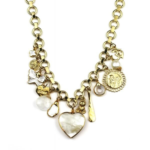 White & Gold Heart Charm Necklace-0