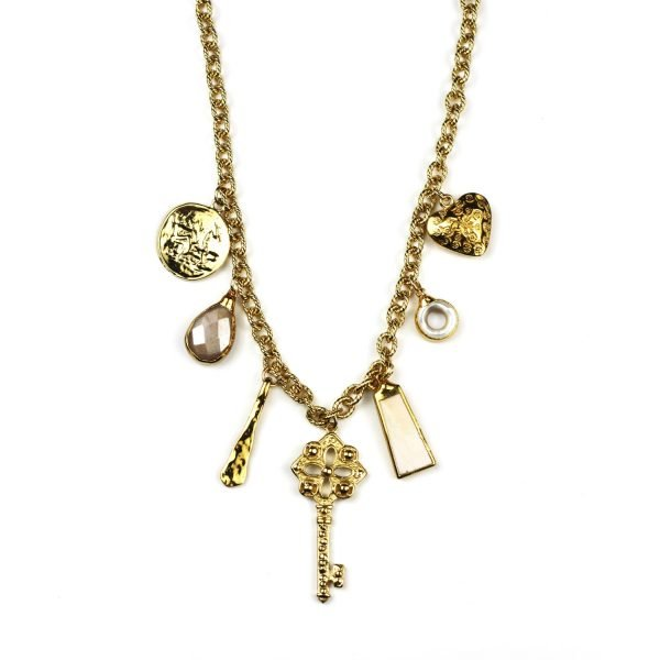 Blush Pink Charm Necklace-0