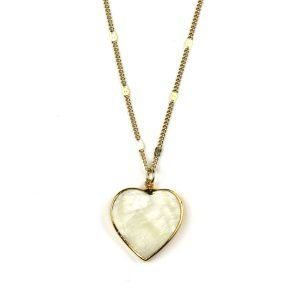 "28"" Heart Mother of Pearl Necklace-0"