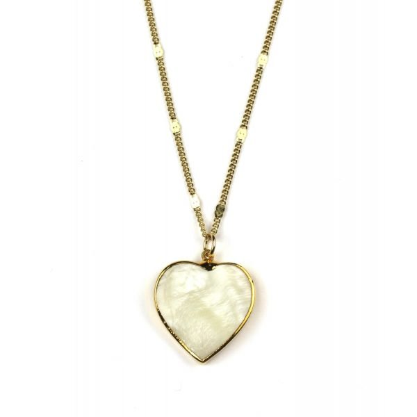 """28"""" Heart Mother of Pearl Necklace-0"""