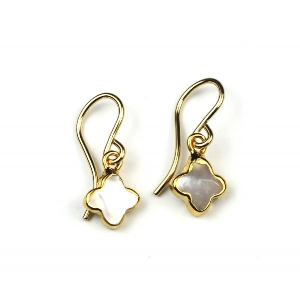 Petite Clover Mother of Pearl Earrings-0