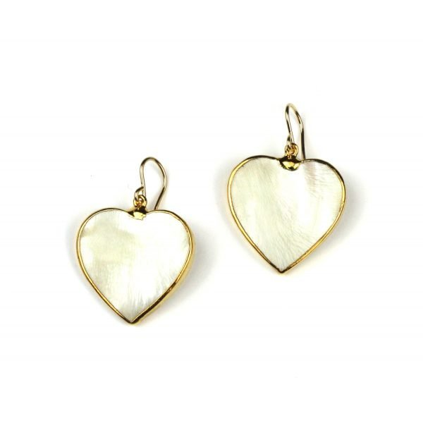 Solid Heart Mother of Pearl Earrings-0