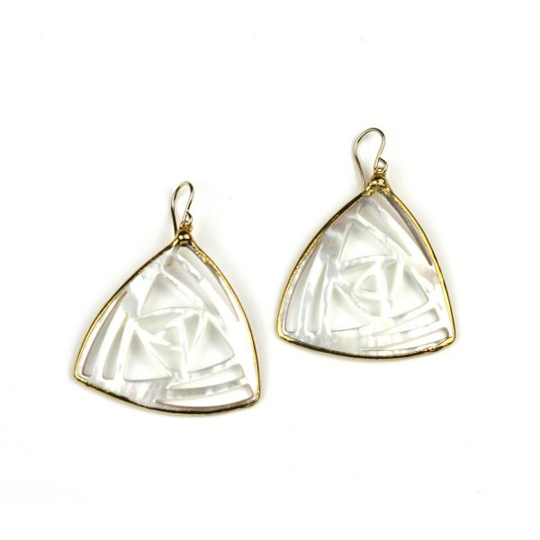 Triangle Mother of Pearl Earrings-0