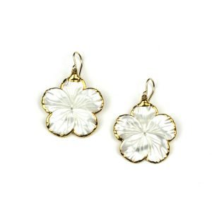 Solid Flower Mother of Pearl Earrings-0