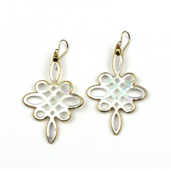 Long Lace Mother of Pearl Earrings-0