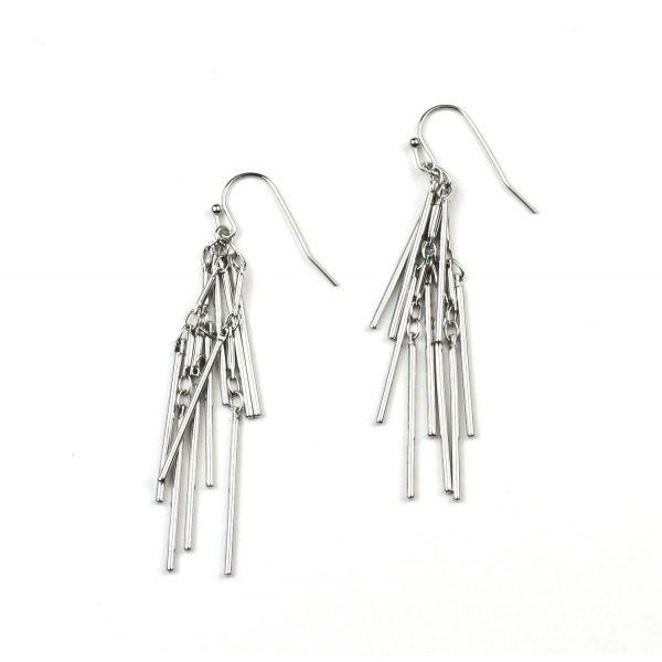 Petite Triple Spike Chain Earrings-4789