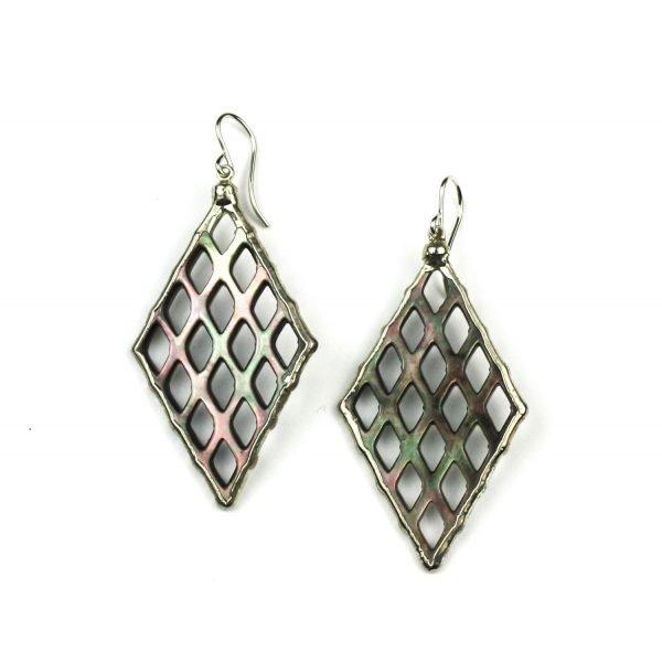 Silver Diamond Abalone Earrings-0