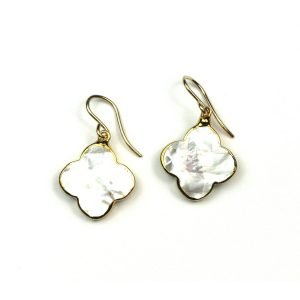 Solid Clover Mother of Pearl Earrings-0