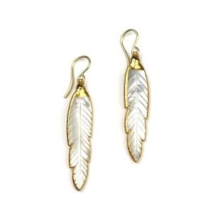 Feather Mother of Pearl Earrings-0