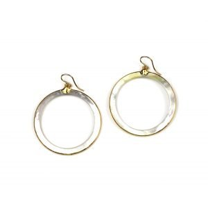 Open Circle Mother of Pearl Earrings-0