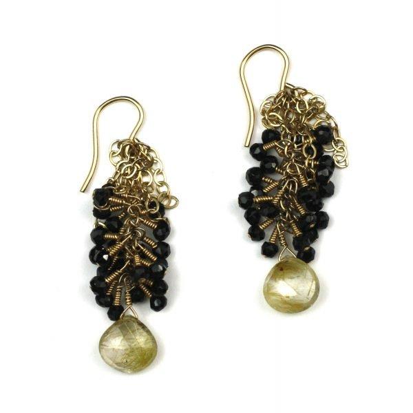 Black & Gold Brio Chain Earrings-0