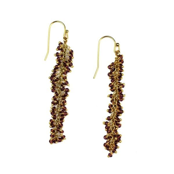 Raspberry Dangle Earrings-0