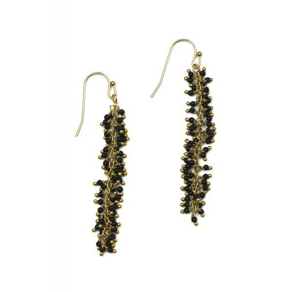 Black Dangle Earrings-0