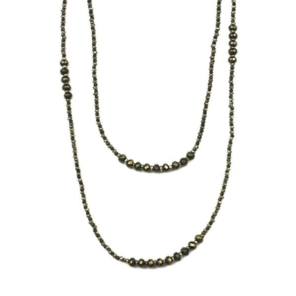 "39"" Pyrite Stone Layer Necklace-4863"