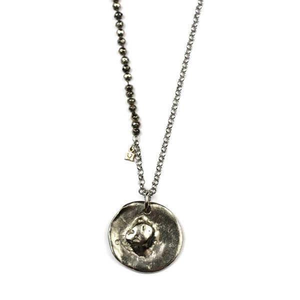 Silver Pyrite Layerchain Necklace-0