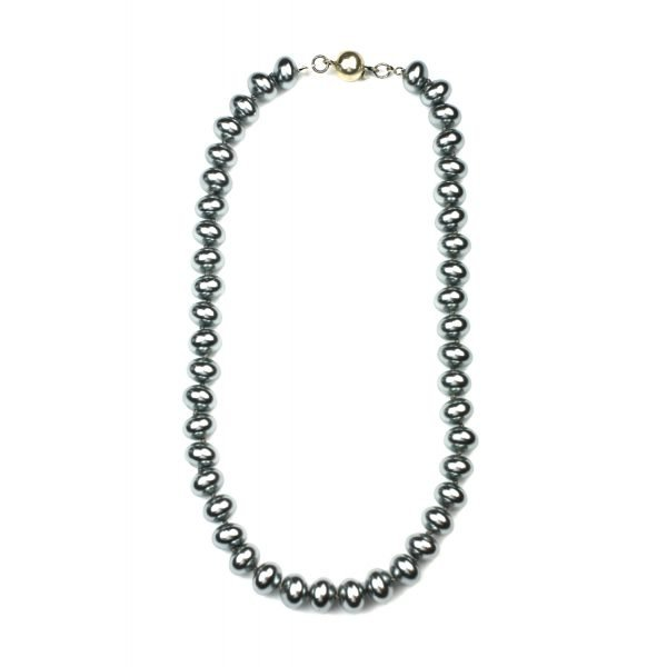 Short Gray Shell Pearl Necklace-0