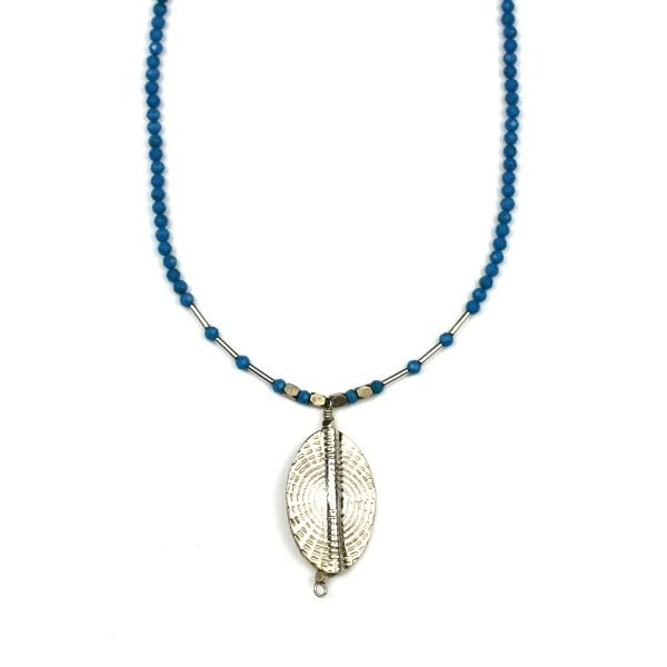 Turquoise & Silver Sunburst Necklace-0