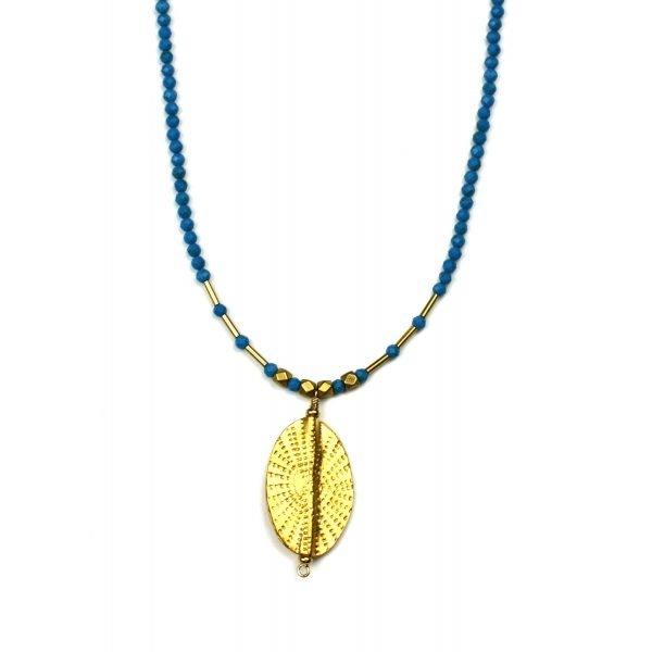 Turquoise & Gold Sunburst Necklace-0