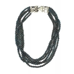 5 Strand Deep Teal Statement Necklace-0