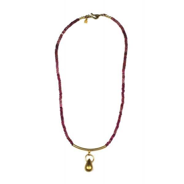 Pink Tourmaline Tube Bar Necklace-4881