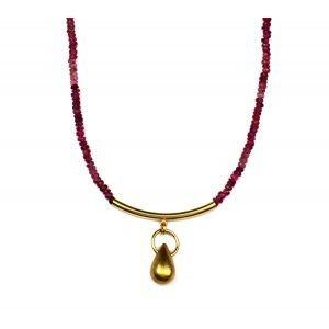 Pink Tourmaline Tube Bar Necklace-0
