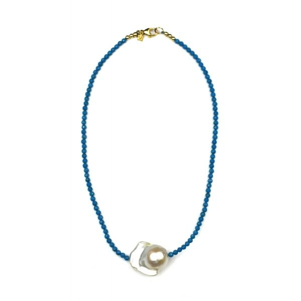 "14"" Turquoise Baroque Pearl Choker-0"