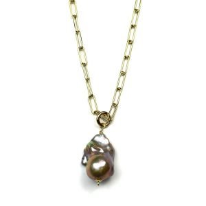 Baroque Pearl Charm Necklace-0