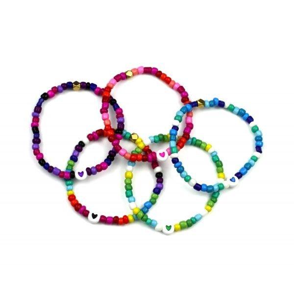 4MM Glass Pony Heart Bracelet-4913