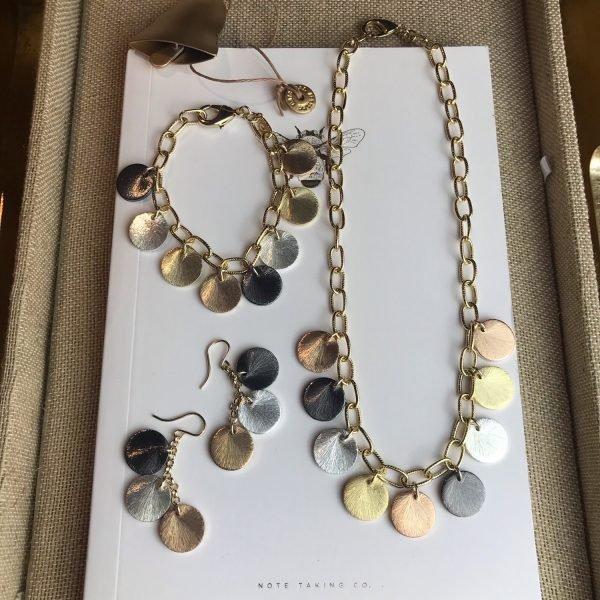 Brushed Disc Charm Earrings-5033